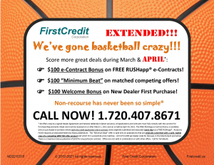 FCC's April dealer promotion and bonuses. Earn an extra $100 on each deal!